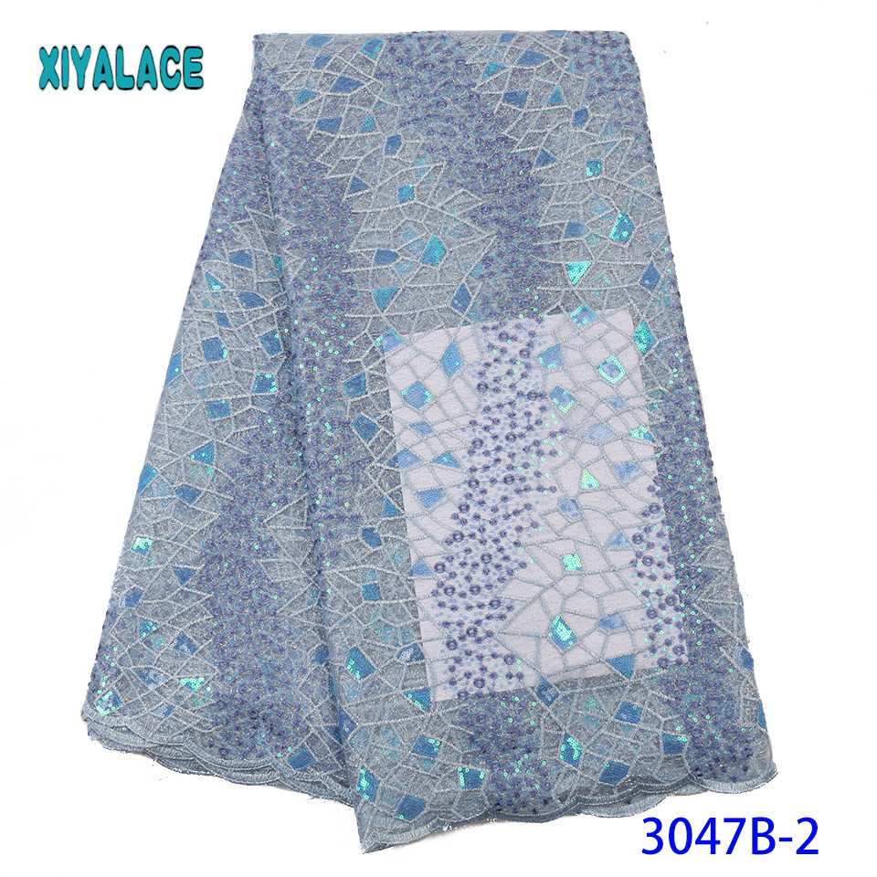 African Fabric Sequins Cloth  Nigerian DIY Handmade Textile Sewing Patchwork French Bridal For Bags Dress YA3047B-2