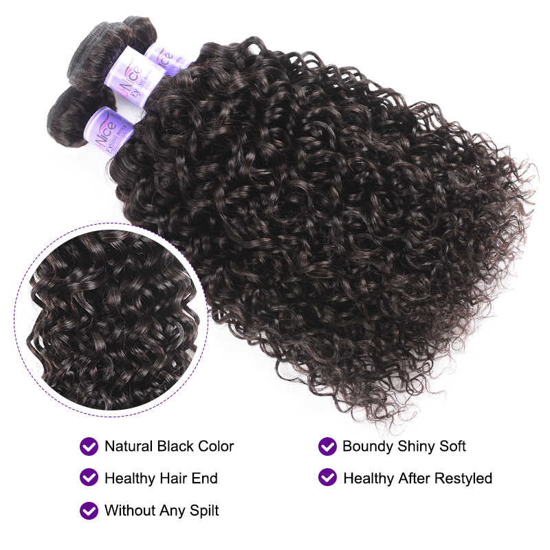 UNice Hair 8A Kysiss Series Peruvian Curly Hair Weave Bundles With Pre Plucked Lace Frontal 4 PCS Virgin Hair Weave