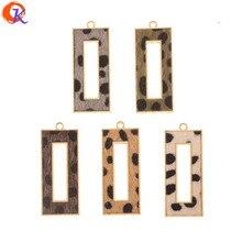 Cordial tasarım 50 adet 18*43MM takı aksesuarları/el yapımı/leopar baskı etkisi/dikdörtgen şekli/DIY takılar/küpe bulguları
