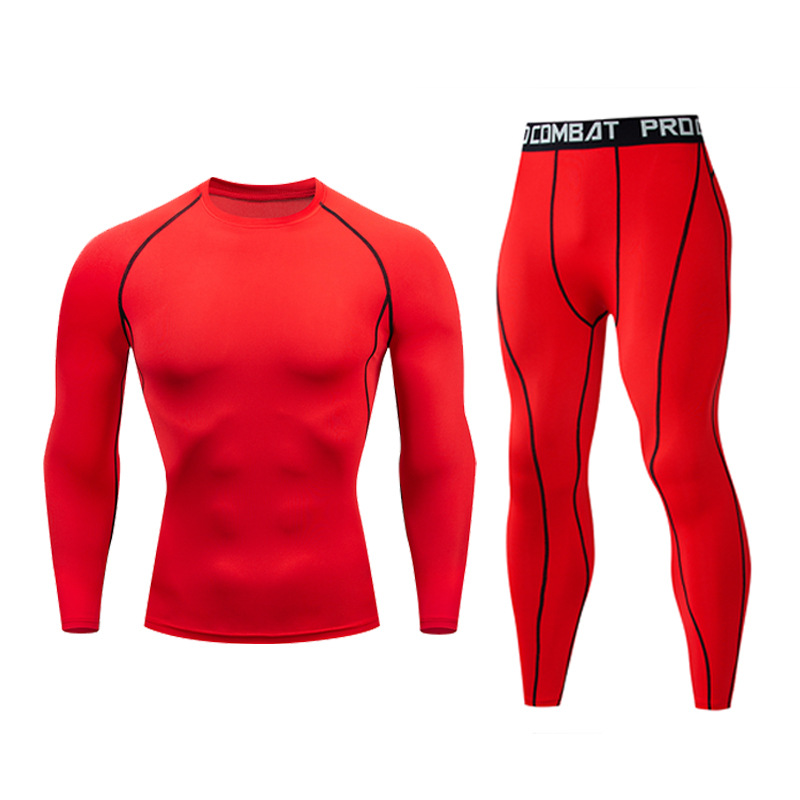 Thermal Underwear Men's Long Underwear Compression Clothing Fitness Jogging Shirt Men's Sports Pants Warm Red Underwear