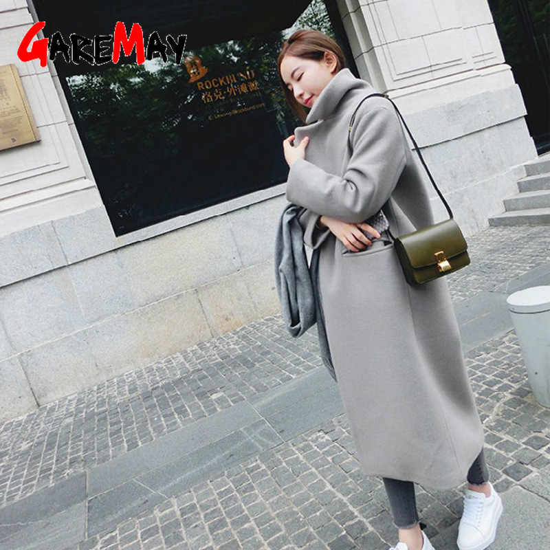 Woman Coats Winter 2019 Korean Wool Coat Warm Causal Long Coat Slim Thicken Coat Plus Size Grey Coat Long Poncho Coat Women