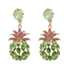 2020 Summer Colorful Shiny Crystal Pineapple Drop Earrings for Women Hollow Out Fruit Big Dangle Earrings Party Jewelry Gift цена 2017