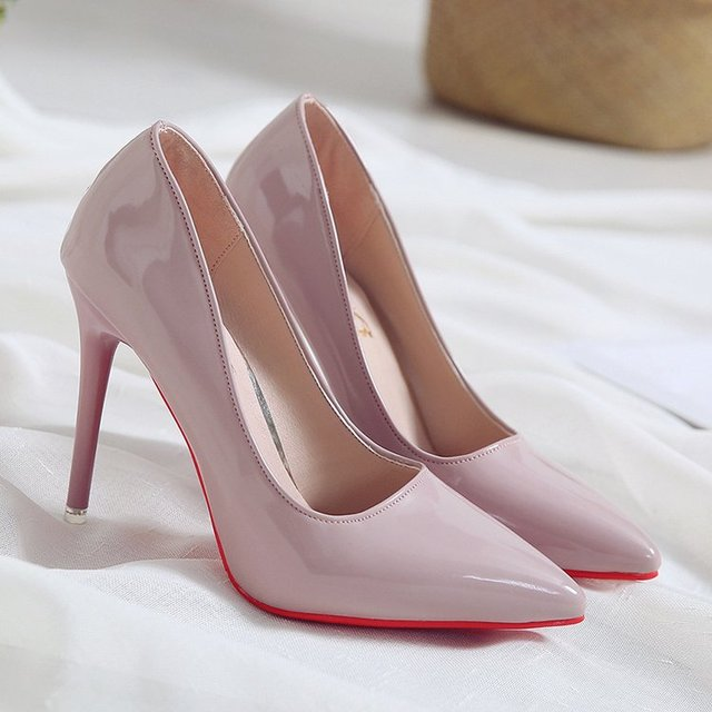 High Heels Patent Leather Shoes Uncategorised Footwear Women color: Apricot|Black|Black flip flops|Gray|Pink|Red