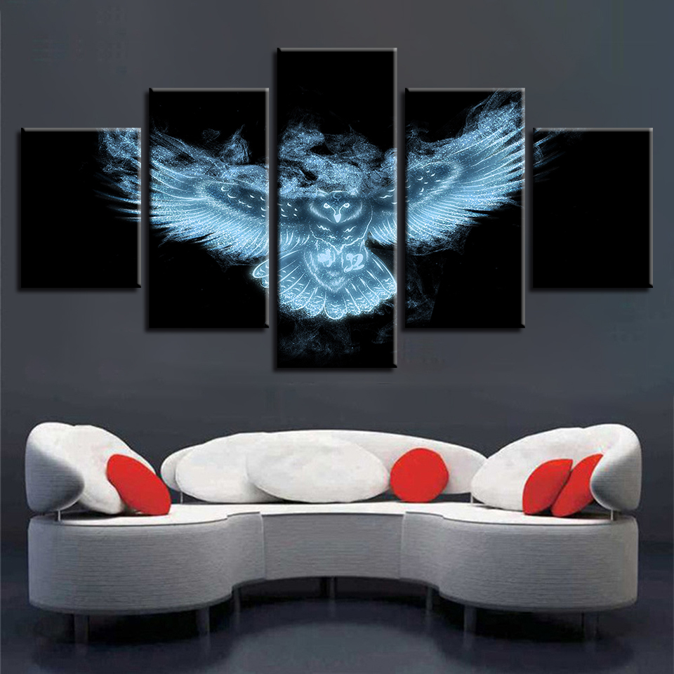 Us 12 2 Modern Painting Art Children Room Wall Decor 5 Pieces Luminous Animal Owl Night View Canvas Picture Poster Modular Frames Prints On