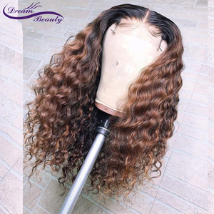 Image 1 - 1B/30 Ombre Color Lace Front Human Hair Wigs Baby Hair 13X6 Deep Part Curly Brazilian Non Remy Lace Wig Free Part Dream Beauty