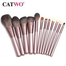 Catwo uva purpler pincéis de maquiagem profissional conjunto ferramentas beleza kit escova de maquiagem fundação em pó definer shader forro