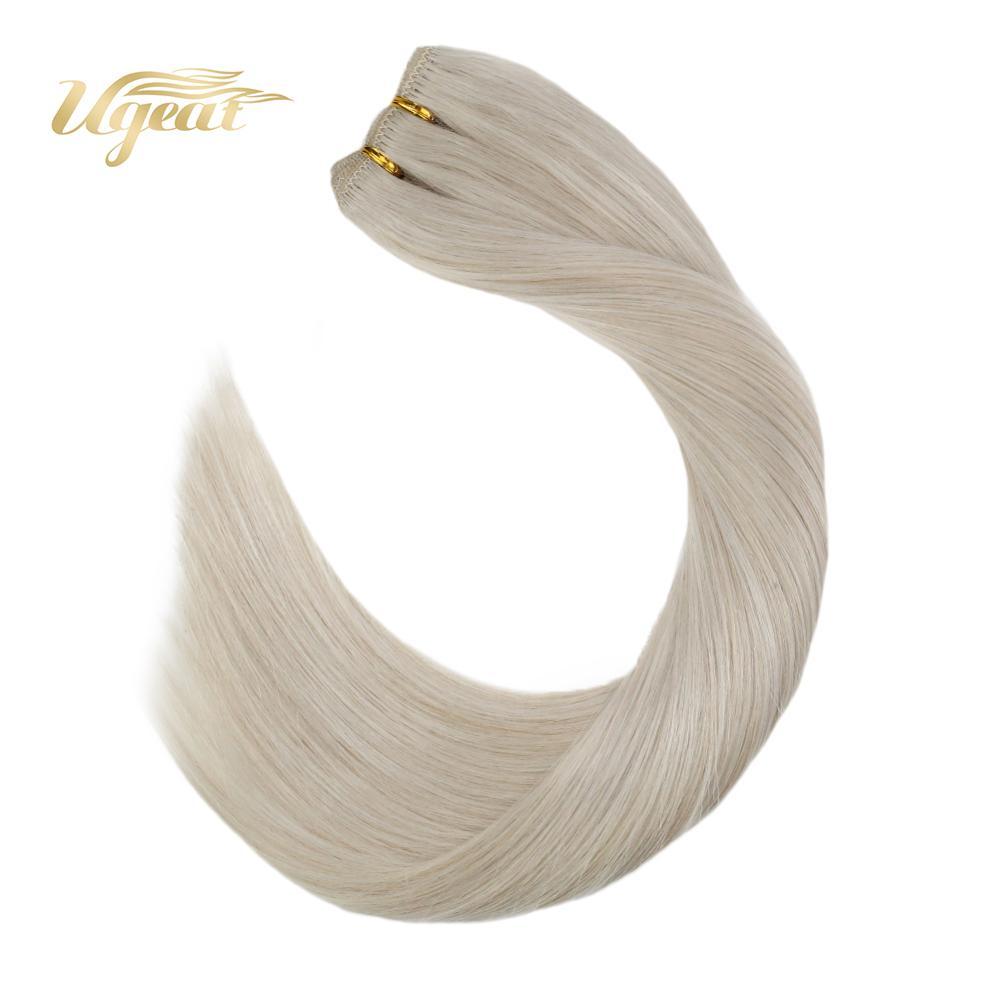 Human Hair Weave 100% Real Hair Extensions Blonde Color Hair #60 Double Drawn Human Hair Extensions 14-24