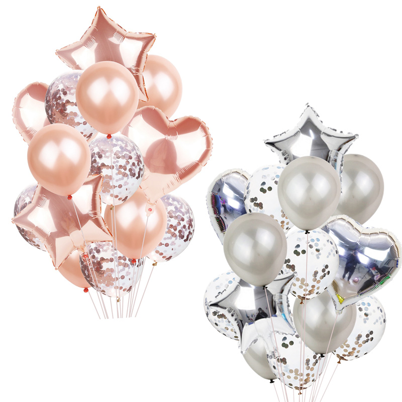 14Pcs Multi Confetti Balloon Happy Birthday Party Balloons Rose Gold Helium Ballons Boy Girl Baby Shower Party Supplies 1