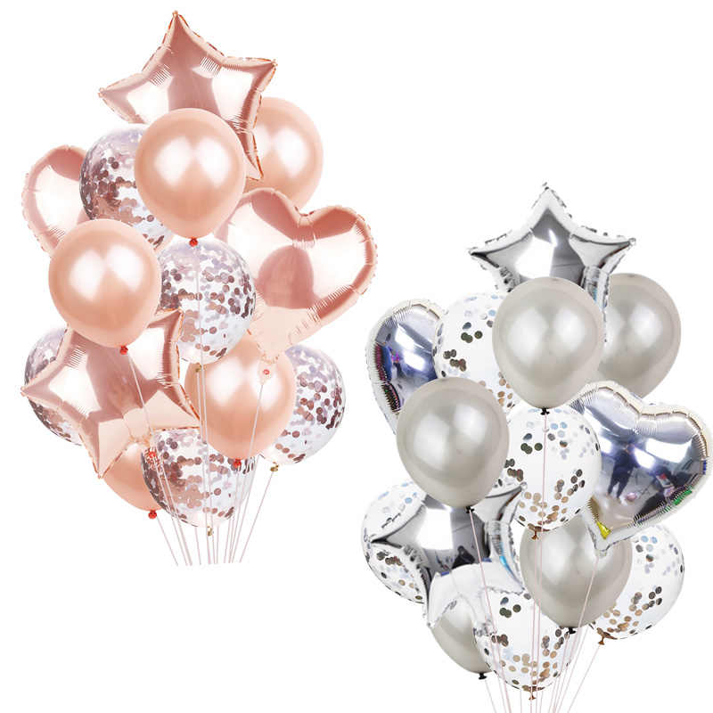 14Pcs Multi Confetti Ballon Happy Birthday Ballonnen Rose Gold Helium Ballons Jongen Meisje Baby Shower Feestartikelen