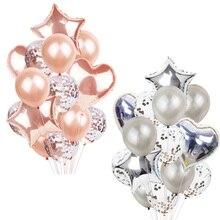 14Pcs Multi Confetti Balão Feliz Aniversário Balões De Hélio Balões de Festa Ouro Rosa Fontes do Partido do Chuveiro Do Bebê Da Menina do Menino