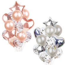 14Pcs Confetti บอลลูน Happy Birthday Party บอลลูน Rose Gold Helium บอลลูน Boy Girl Baby Shower Party Supplies(China)