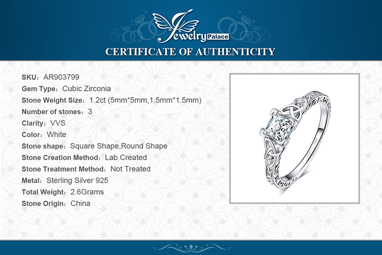 Hc52a624a4c764490b69847486b68fea7h JPalace Celtic Knot Princess CZ Engagement Ring 925 Sterling Silver Rings for Women Anniversary Wedding Rings Silver 925 Jewelry