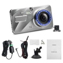 HD 4 Inch Dual Lens Image 1080P Hidden Wide Angle Driving Recorder Dash Cam Car DVR Camera