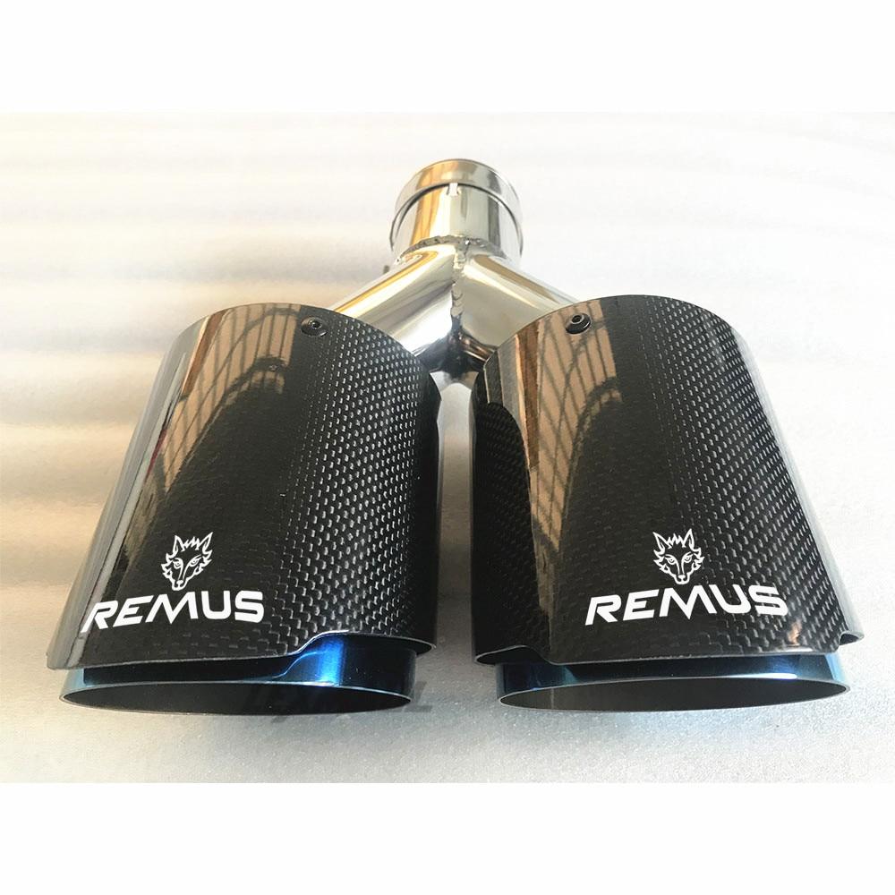 lampada grelha de fibra de aco inoxidavel dupla automovel remus silenciador de tubo de escape acessorios