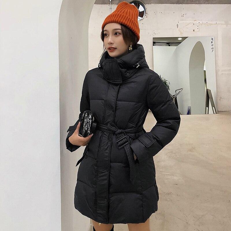 Fashion Real Raccoon Fur Collar Loose   Down   Parka Winter Female Warm Jacket   Coat   For Girl Women Slim Waist   Coats   Duck Outerwear