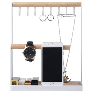 Image 3 - Jewelry Display Stand Holder with Wooden Ring Tray and Hooks Storage Necklaces Bracelets, Rings, Watches