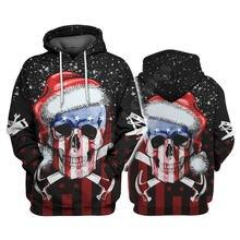 Плотник Череп США веселые рождественские худи 3d пуловер с принтом