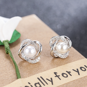 2020 Fashion Plated Crystal Star Pearl Ear Stud Earrings For Women Wedding Jewelry Bridal Accessories Boucle D'oreille Femmer 3