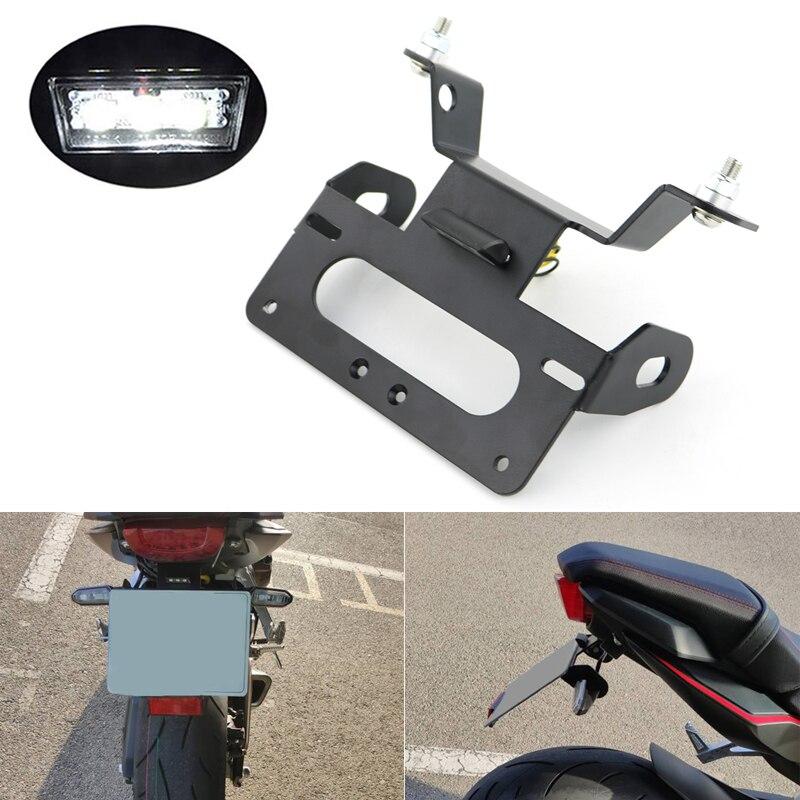 Pour Honda CBR650R CB650R 2019 2020 support de plaque d'immatriculation arrière queue bien rangé support de plaque d'immatriculation support éliminateur de garde-boue noir