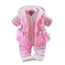 Newborn Baby Boys Girls Plus velvet Vest+Coat+ Pants Kids Infant 3Pcs suit Winter Thicken Warm Jumpsuit Rompers Christmas Pajama