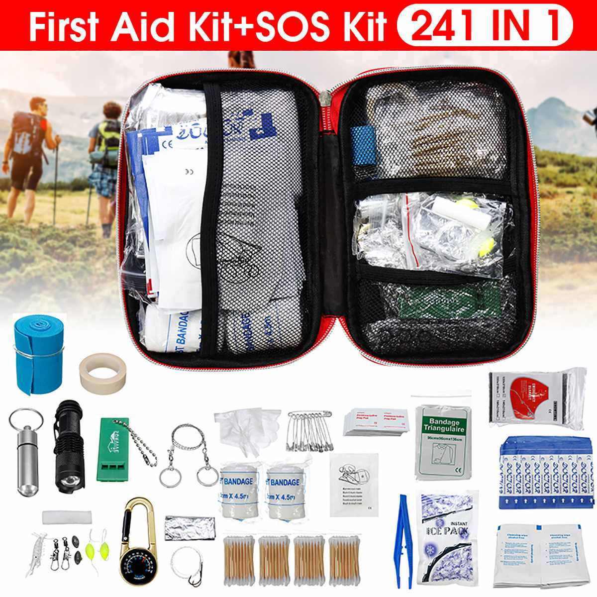 SOS Emergency Bag 241Pcs/Set Camping Survival Equipment Outdoor Gear Tactical Tool First Aid Kit Lightweight Versatile Portable