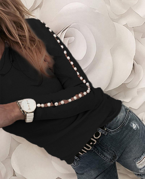 Elegant Pearl Nail Bead Long Sleeve Pink Knit Sweaters Women Invierno 2020 O Neck Hollow out Pullovers Black Grey Ladies Tops 6