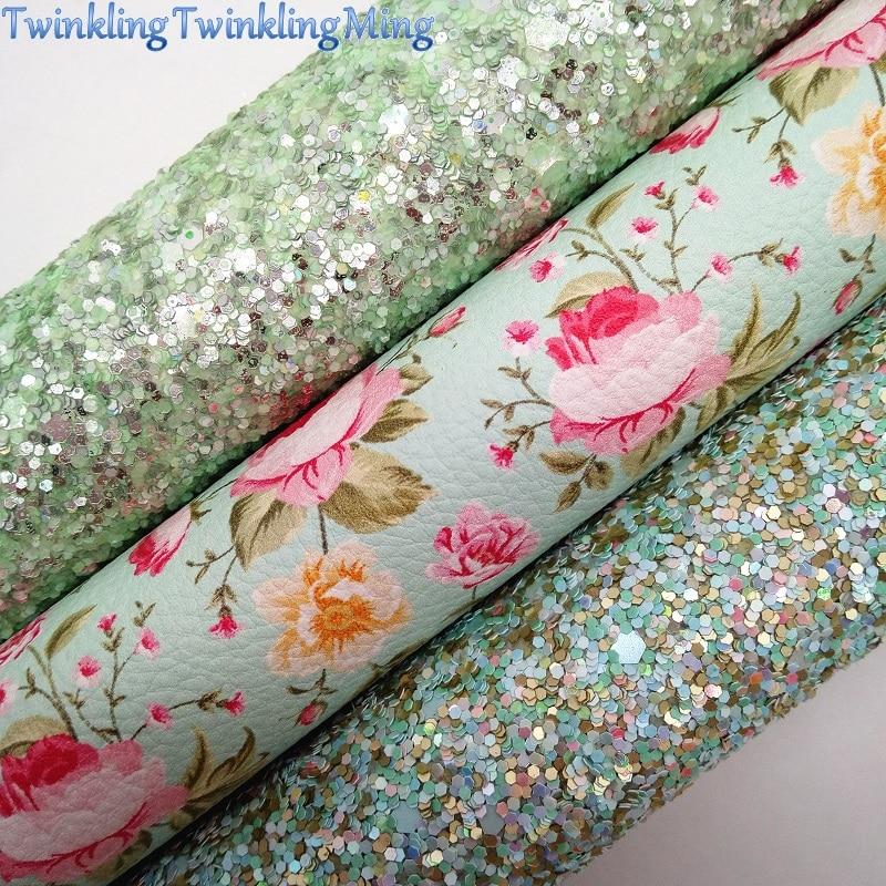 Зеленая блестящая ткань, синтетическая кожа с цветочным принтом, листы из искусственной ткани для банта A4 21x29 см мерцание Ming XM020A