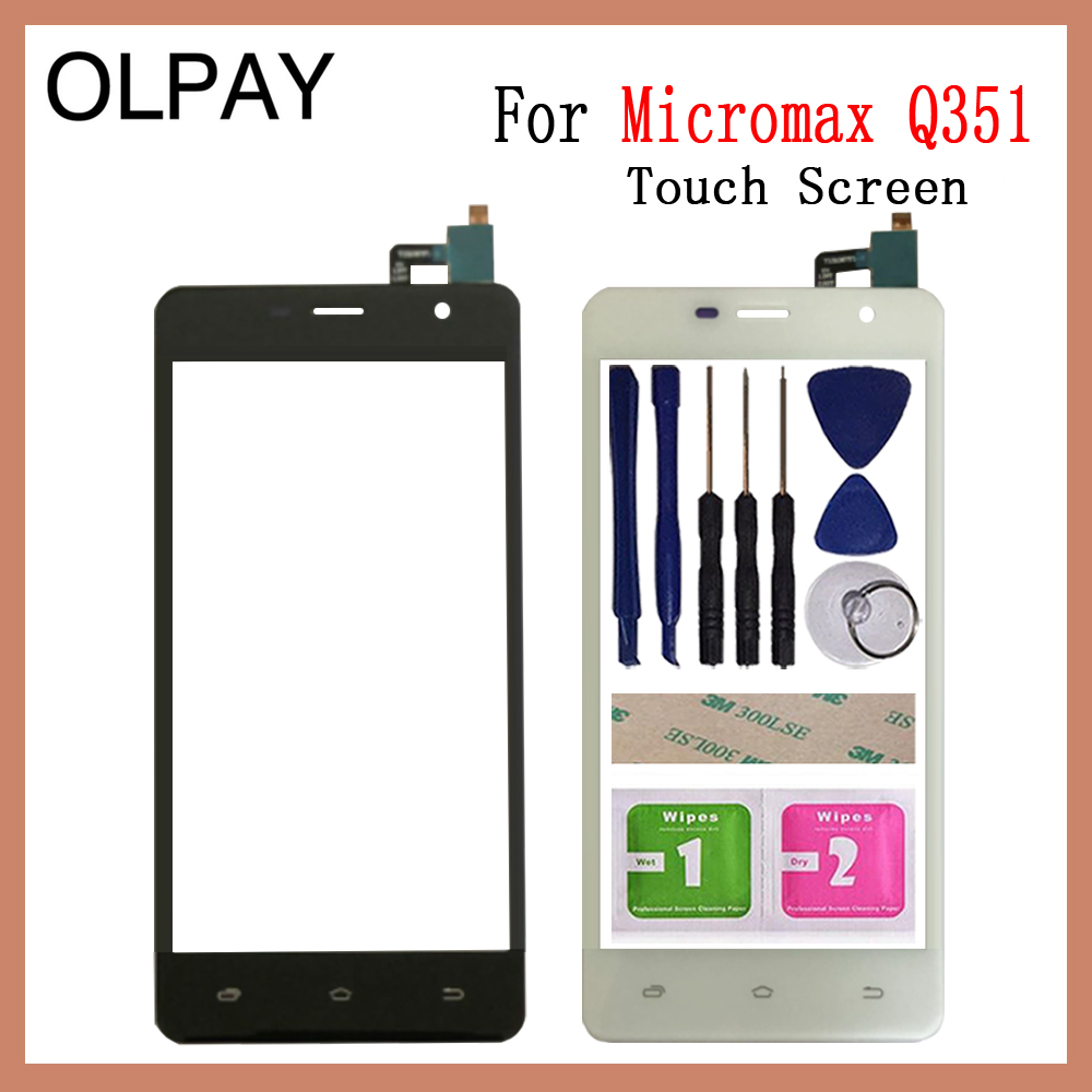 OLPAY 5.0'' Touch Screen For Micromax Q351 Touch Screen Digitizer Panel Front Glass Lens Sensor Tools Adhesive+Wipes