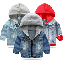 Baby Boys Denim Jacket 2020 Autumn Winter Jackets For Boys Coat Kids Outerwear Coats For Boys Clothes Children Jacket 2-7 Year cheap KEAIYOUHUO Fashion Polyester COTTON Solid REGULAR Hooded Outerwear Coats Full Fits true to size take your normal size