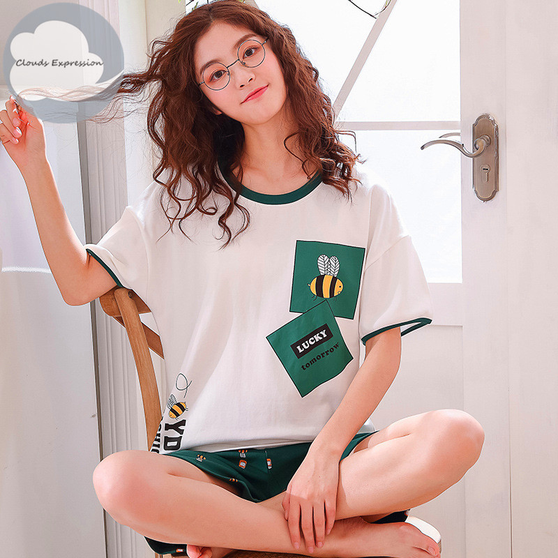 2019 Summer Cartoon CottonPajamas Set Women Pyjamas Women Sleepwear Night Suits Pijama Mujer Home Wear Women Plus Size Nightwear