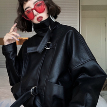 Женская куртка из искусственной кожи большого размера, байкерское пальто с рукавом «летучая мышь», короткая куртка из искусственной кожи на молнии, черная куртка, весеннее уличное кожаное пальто PY102