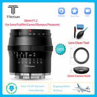 TTArtisan-Micro lente de cámara SLR F1.2 de 50mm para estudio fotográfico profesional, para Sony E, Canon, Fujifilm, Olympus, Panasonic