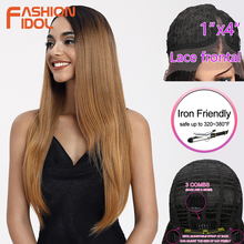 цена на FASHION IDOL Lace Front Wigs Straight Hair Synthetic Wigs 28 Inch Ombre Blonde Long Cosplay Wigs For Women Heat Resistant Fiber