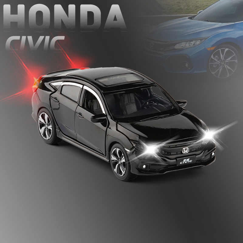(Boxed) Simulation 1:32 Civic with sound and light to open the door alloy children's toy car model pendulum