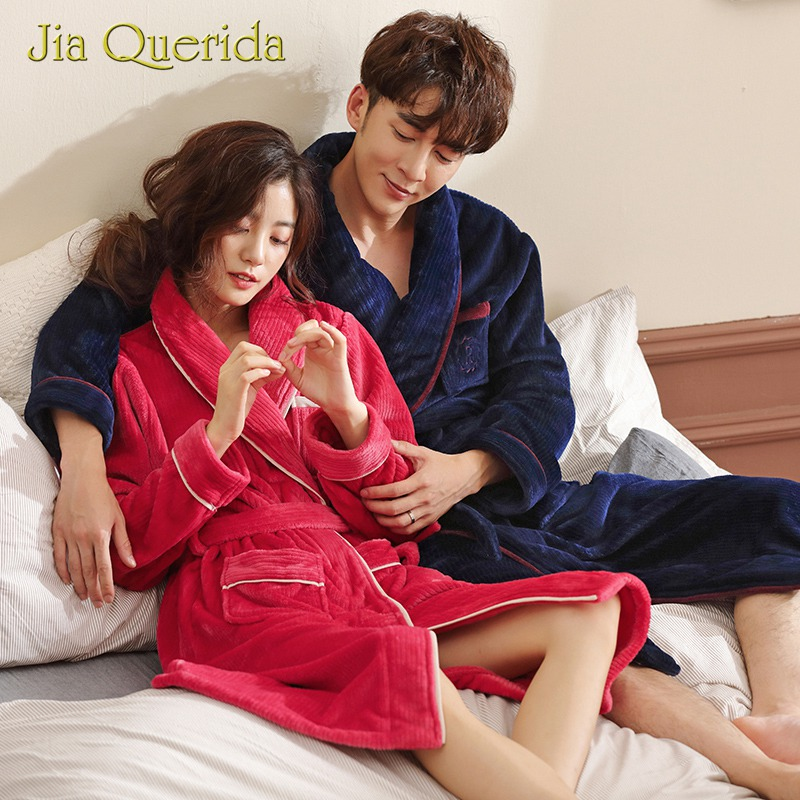 Winter Couple Robe Warm Flannel Soft Watermelon Red Navy Long Sleeves Pocket Turn-down Collar Women And Men's Bathrobe Sleepwear