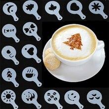 Pochoirs à café, modèle d'impression fantaisie, mousse, Spray, gâteau, dessin, moule à Cappuccino, outils de tamis en poudre, 16 pièces