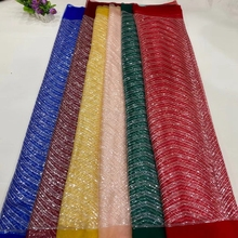 JPN Tulle Lace High Quality 2021 African French Fabric With Coloful Small Sequins Fabircs For Evening Party