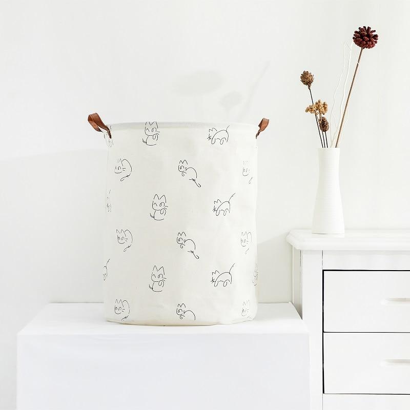 Cute Cat Foldable Cotton Canvas Laundry Basket Waterproof Storage Basket Laundry Baskets     - title=