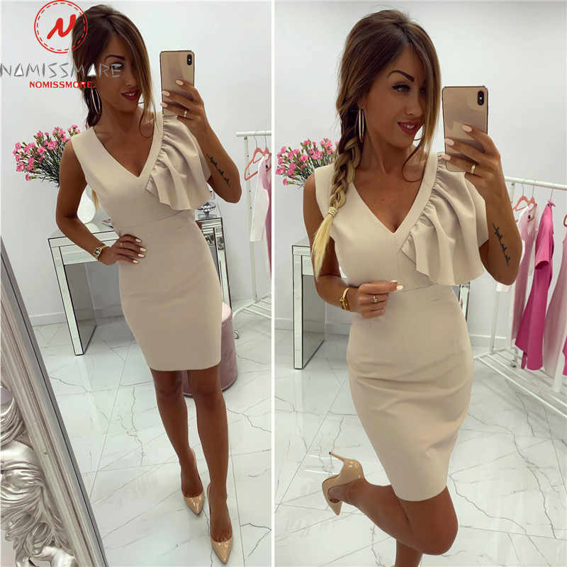 Elegante Vrouwen Bodycon Jurk Patchwork Ontwerp Ruches Decor V-hals Mouwloos Solid Zomer Mini Slanke Heupen Jurk Voor Streetwear