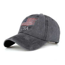 100% Cotton USA Flag Washed Baseball Cap Men Women Denim Letter Snapback Hat Bone Embroidery America Hip Hop Trucker Cap Gorras