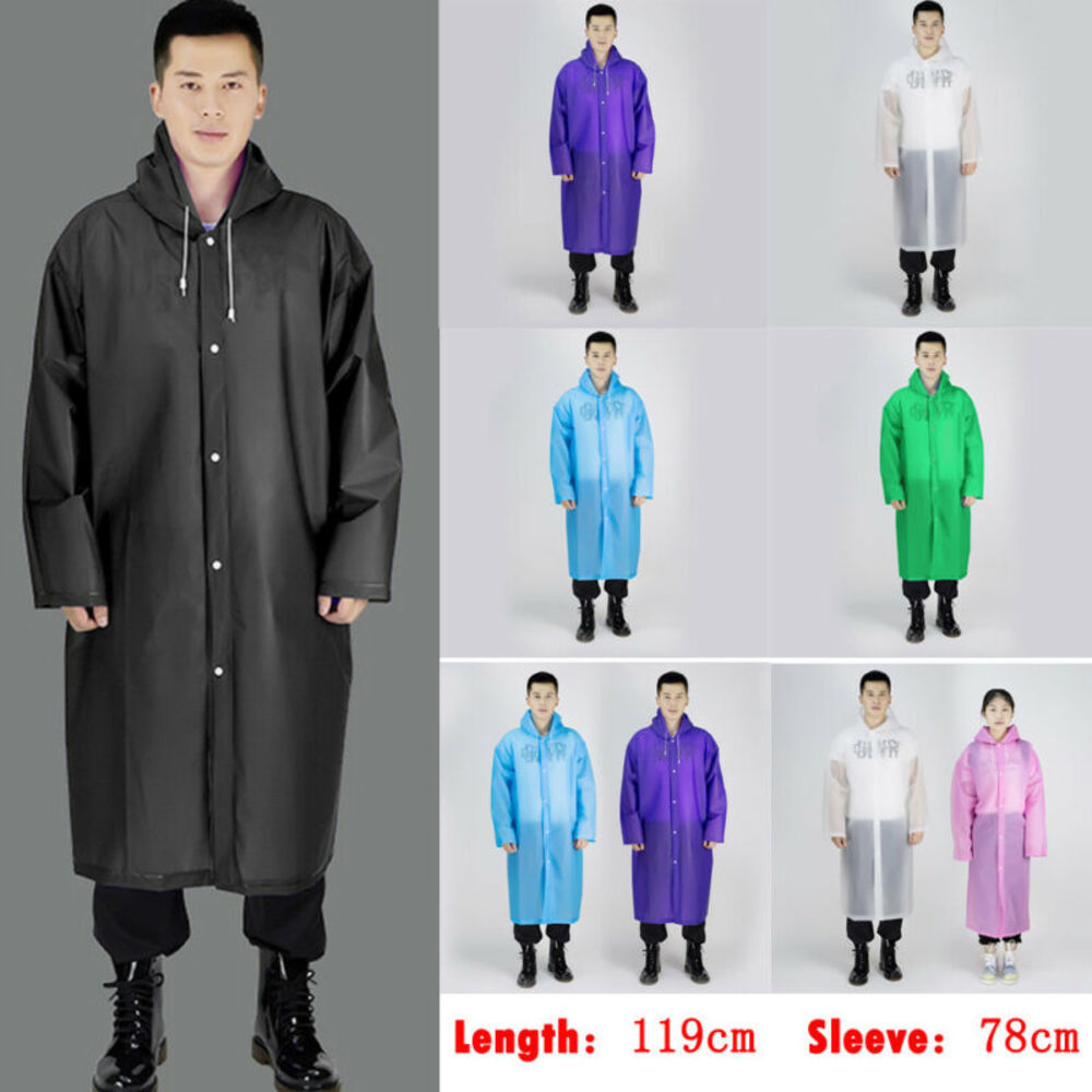 Men Women Long Waterproof Jacket Rain Coat Hood Button Reusable Raincoat Outdoor