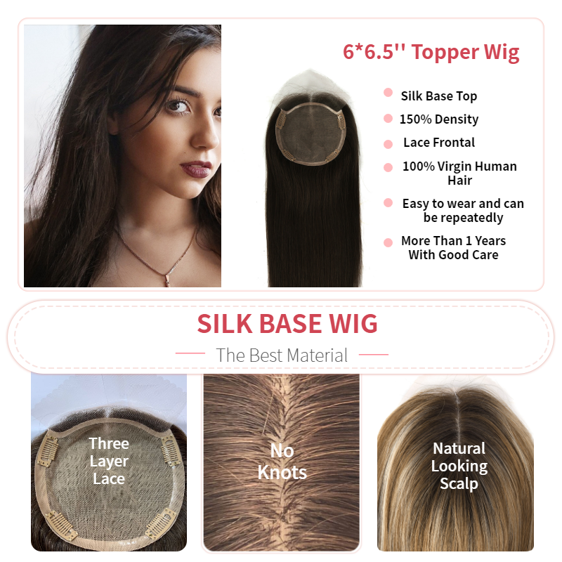 K.S WIGS 16'' 20'' 15X14cm Fake Scalp Topper Hairpieces 150% Density Silk Base Virgin Cuticle Human Hair Toupee Hair For Women