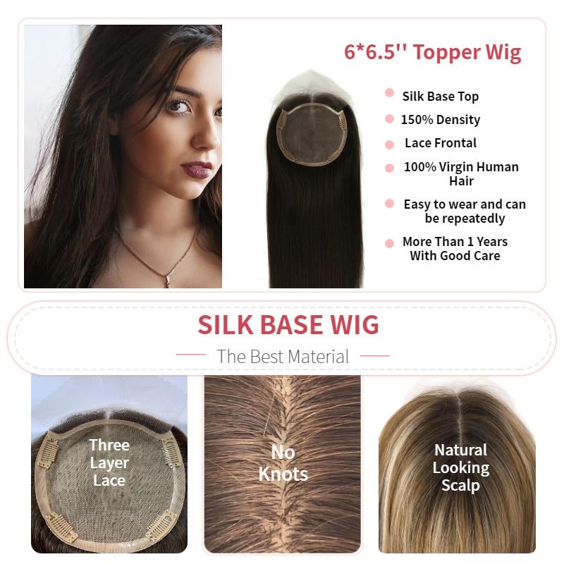 K.S WIGS 16'' 20'' 15X14cm Fake Scalp Topper Hairpieces 150% Density Silk Base Virgin Cuticle Human Hair Toupee Hair For Women