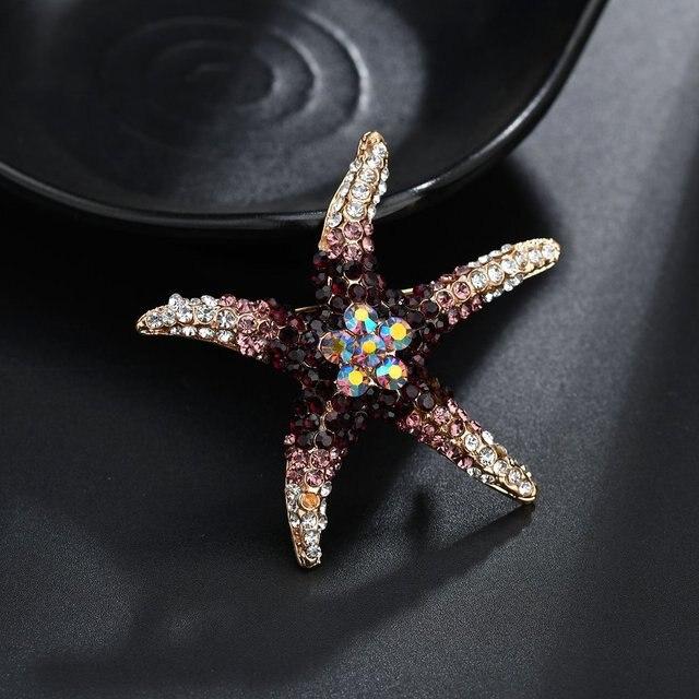 Terreau Kathy Rhinstones étoile de mer broche bleu or mer animaux broches pour femmes et hommes broche broche bijoux accessoires cadeaux