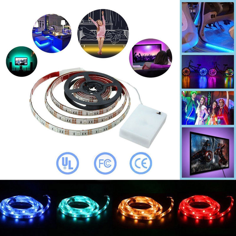 Ribbon RGB <font><b>LED</b></font> <font><b>Strip</b></font> <font><b>Battery</b></font> <font><b>Operated</b></font> SMD 5050 Tape Lights Waterproof IR RF Remote Control 4AA <font><b>Battery</b></font> Powered Fita <font><b>LED</b></font> Stripe image