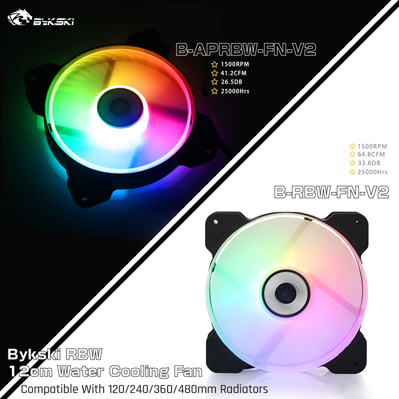 Bykski B-APRBW-FN-V2/B-RBW-FN-V2, RBW 120mm Constant Cooling Fan / Cooler, Compatible With 120/240/360/480mm Radiators
