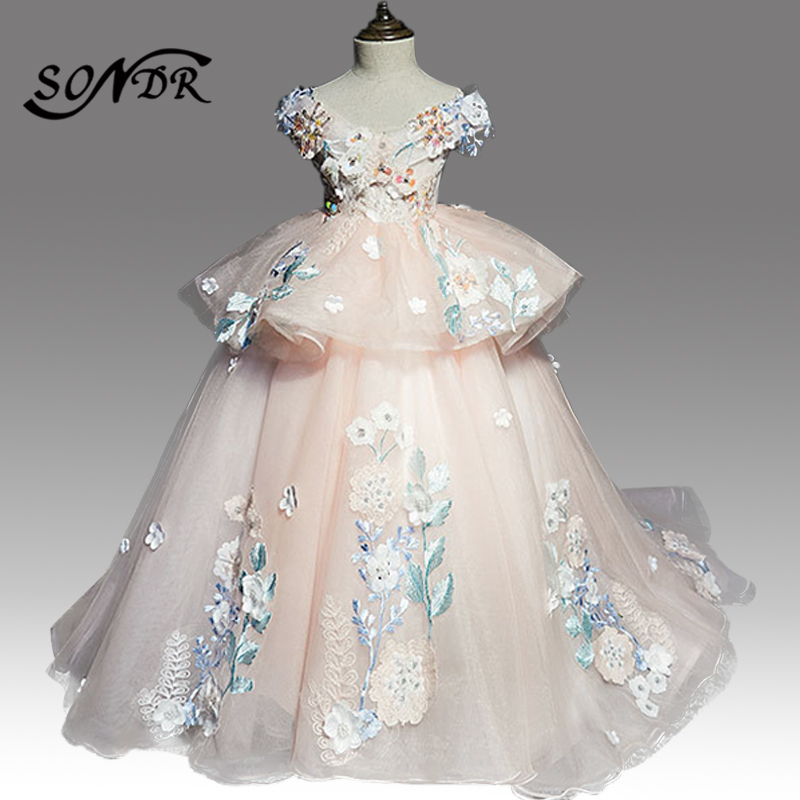 Luxury Flower Girl Dresses HT163 Appliques Beading Sequin Pageant Dress For Girls Boat Neck Pearls Lace Flower Girls Ball Gowns
