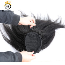 Kinky Straight Brazilian Human Hair Drawstring Ponytail Clip In Hair Extensions Natural Color Remy Puff Ponytail Honey Queen