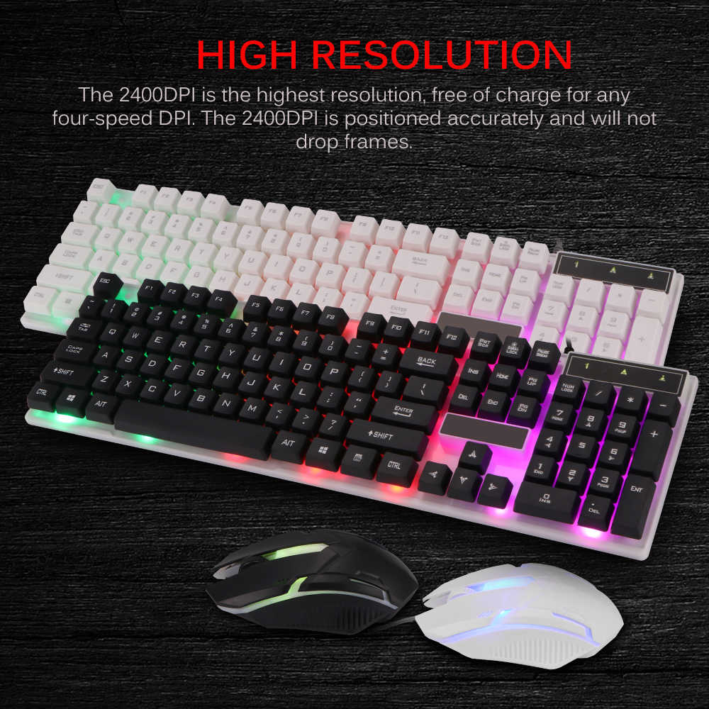 Combo Pc Gamer Led Gaming Toetsenbord En Muis Bedraad 2.4G Toetsenbord Gamer Toetsenbord Illuminated Gaming Toetsenbord Set Voor laptop