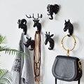 Скандинавские черные крючки в виде животных  американский подвесной крючок  Настенный декор  ключи  крепкие бесшовные приклеивающиеся крюч...